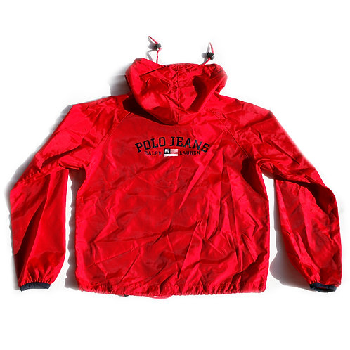Vintage 90s/Y2k Women's Red Logo Polo Jeans Ralph Lauren Hooded Full Zip Rain Jacket Windbreaker - S
