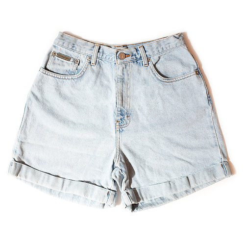 Vintage Calvin Klein Light Wash High Rise Factory Cuffed Shorts - 27