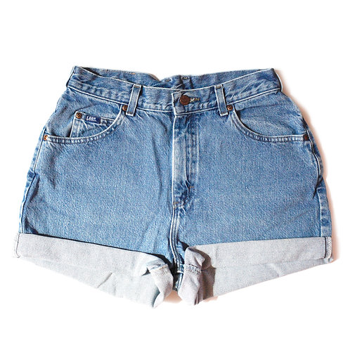 Vintage Lee Medium Wash High Rise Cuffed Shorts - 28