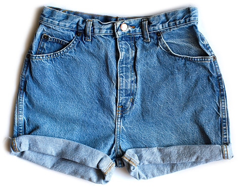 Vintage Medium Blue Wash High Waisted / Rise Cuffed Denim / Jean Shorts