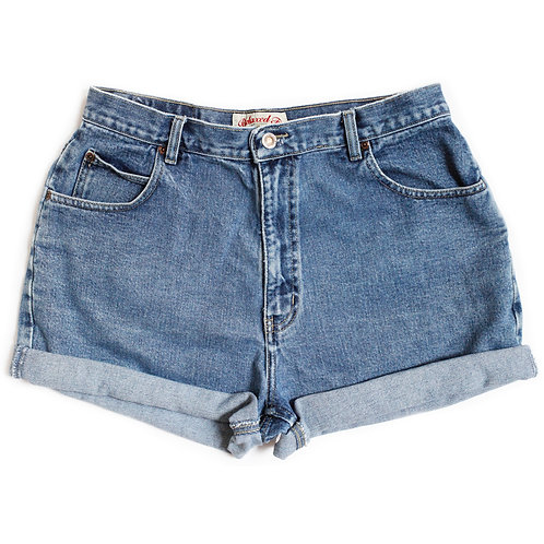 Vintage Medium Wash High Rise Denim Shorts - 33/34