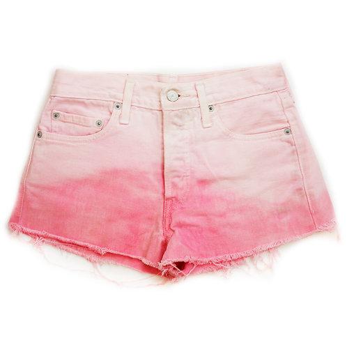 Vintage Levi's Pink Ombre Tie Dye Mid-High Rise Denim Button Fly Cut Offs - 26