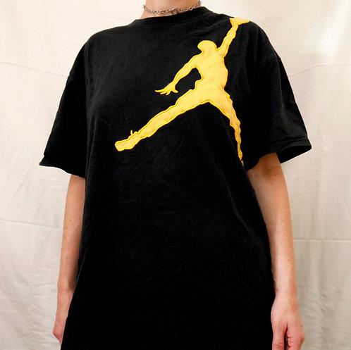 Vintage 90s Air Jordan Jumpman Black & Yellow LogoShort Sleeved Tee / T-Shirt - XL