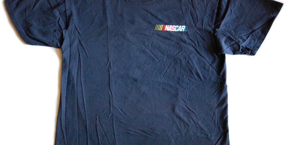"""Vintage 90s Nascar Logo """"America's Greatest Thrill Ride"""" Racing Graphic Navy Blue Tee / T-shirt - L"""
