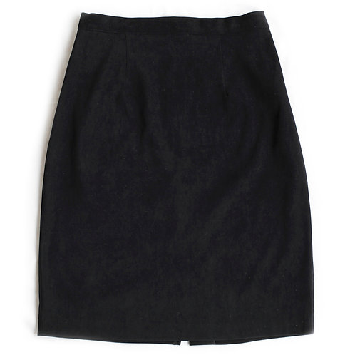 Vintage 90s High Rise Black Faux Suede Skirt - 28/29