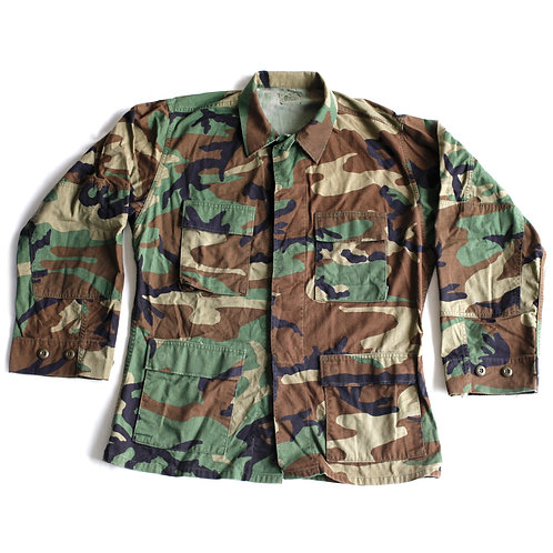 Vintage Authentic Army Military Camouflage Green, Brown & Black Collared Button Up Field Jacket - M