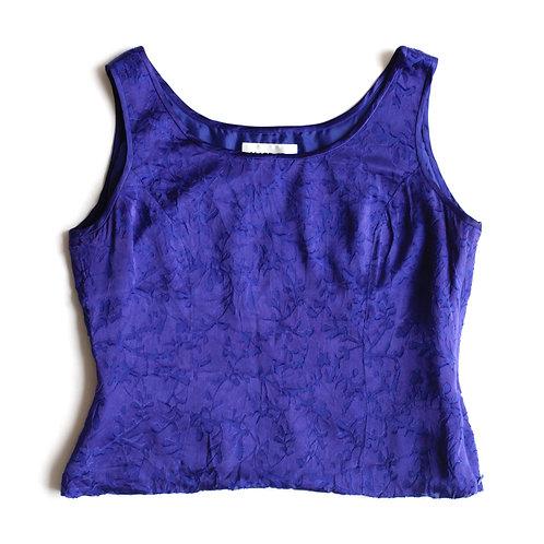 Vintage Kasper Petite Silky Royal Blue / Purple Floral Velvet Accent Sleeveless Camisole Blouse Top - 6 M