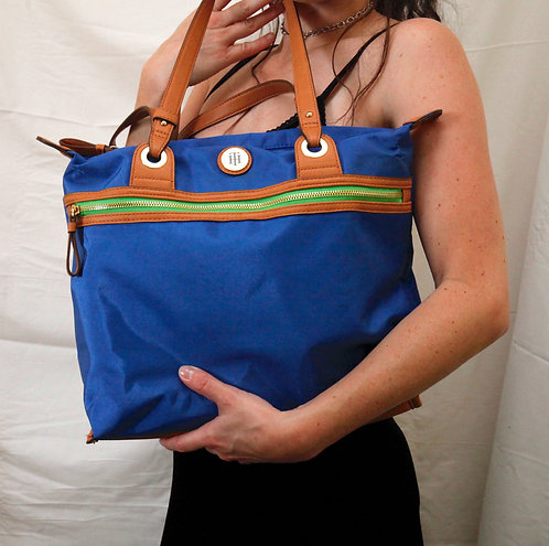 Tommy Hilfiger Nylon & Leather Blue, Green & Brown Color Block Tote Purse Bag