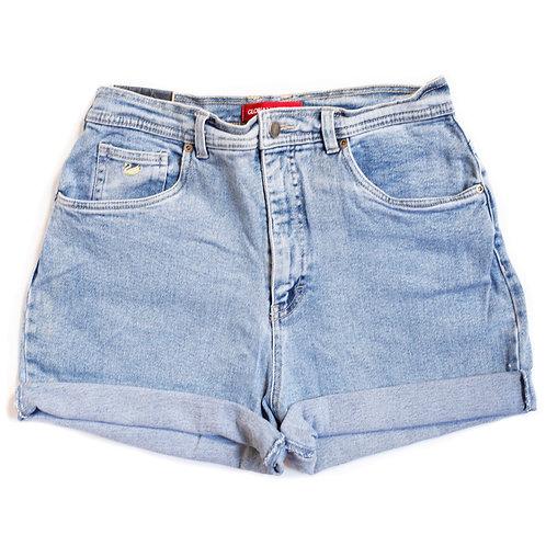 Vintage Light Wash High Rise Cuffed Shorts - 33/34