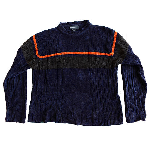 Vintage 90s Croft & Barrow Super Soft Blue and Orange Mock Neck Pullover Sweater