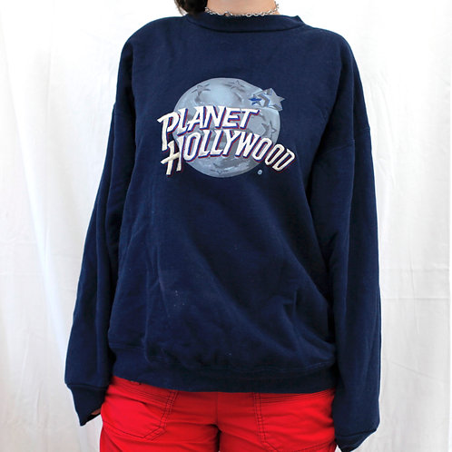 Vintage Planet Hollywood Navy Blue Embroidered Logo Pullover Crewneck Sweater / Sweatshirt