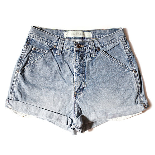 Vintage Arizona Carpenter Light Wash High Rise Cuffed Shorts - 28/29