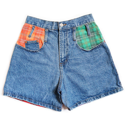 Vintage Steel Jeans Plaid Color Block High Waisted Rise Shorts - 28