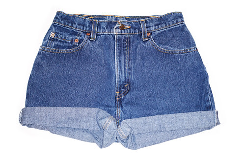 Vintage Levi's Dark Wash High Waisted Rise Cuffed Shorts - Sz 26/27