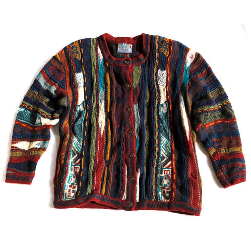 Vintage 1990s Australian Coogi Cuggi Multi-Color Striped Wool Button Up Crew Neck Cardigan Sweater - Medium