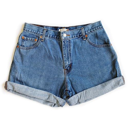 Vintage Levi's Strauss Light/MediumBlue Wash High Waisted Rise Cuffed Stretch Denim Jean Shorts