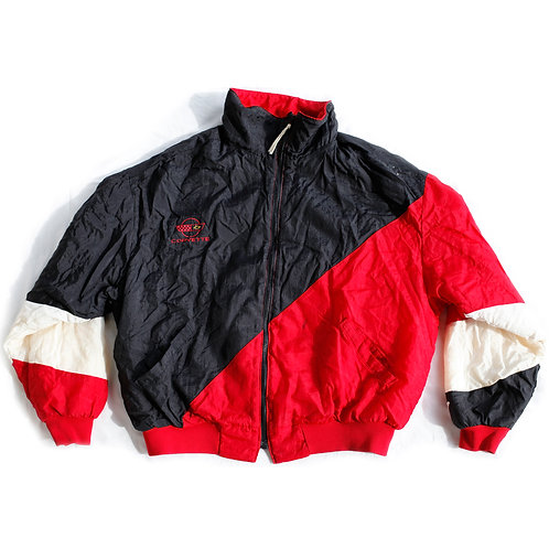 Vintage 80s Corvette Embroidered Logo Color Block Red Black and White Windbreaker Full Zip Jacket - XL