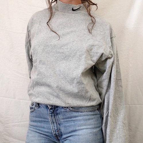 Vintage Nike Mock Turtleneck Embroidered Swoosh Gray & Black Long Sleeved Tee / T-Shirt - M