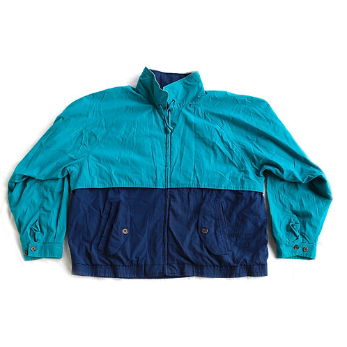 Vintage 80s/90sTowncraft Teal and Navy Blue Color Block Full Zip Lined Windbreaker Jacket - XL