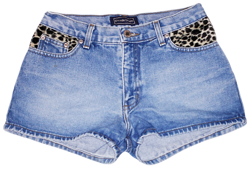 Vintage Leopard Print Mid High Rise Denim Shorts - Front