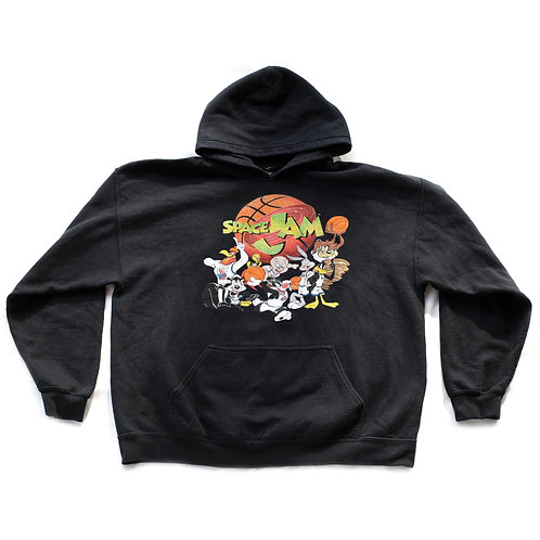 90s Inspired Space Jam Basketball Black Graphic Pullover Hooded Hoodie Sweatshirt - XL