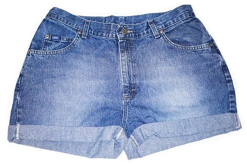 Vintage Lee Medium/Dark Wash High Rise Cuffed Shorts - Sz 34