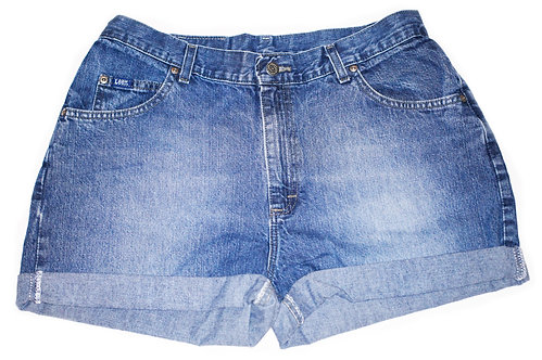 Vintage Lee Medium/Dark Wash High Rise Cuffed Shorts - Sz 34