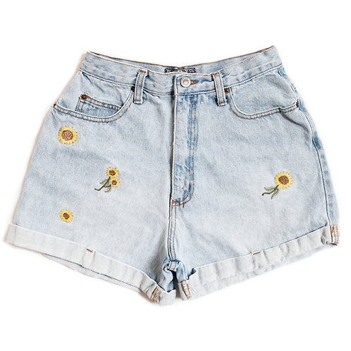 Vintage 90s Embroidered Daisies High Rise Cuffed Denim Shorts - 27