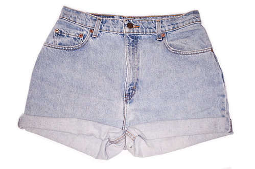 Vintage Levi's Light Wash High Rise Cuffed Denim Shorts - Sz 30