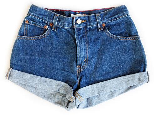 Vintage Levi's Medium/Dark Blue Wash High Rise Cuffed Shorts - Sz 27