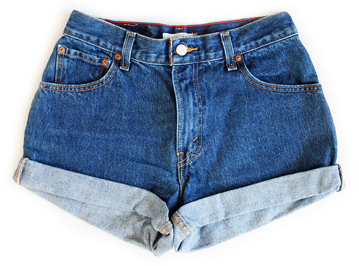 Vintage Levi's Medium/Dark Blue Wash High Rise Cuffed Shorts - Sz 27