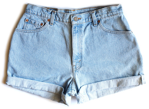 Vintage Levi's Light Blue Wash High Waisted Rise Cuffed Denim Jean Shorts