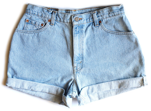 Vintage Levi's Light Blue Wash High Waisted Rise Cuffed Denim Jean Shorts
