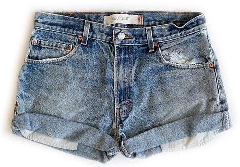 Vintage Levi's Medium Blue Wash High Rise Cuffed Shorts - Sz 30/31