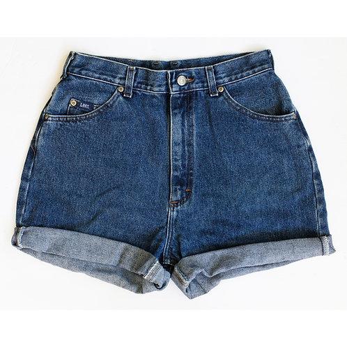 Vintage Lee Medium/Dark Wash High Rise Denim Cuffed Shorts - 29