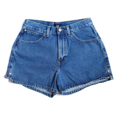 Vintage GAP Medium/Dark Blue Wash High Waisted Rise Denim / Jean Shorts