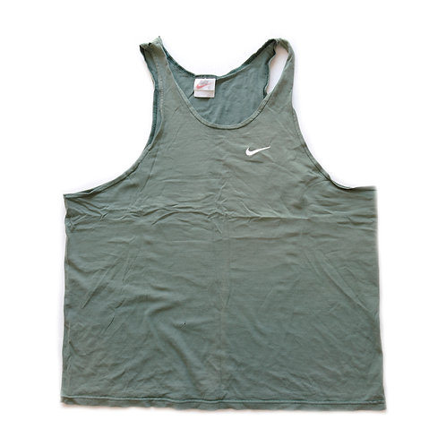Vintage Nike Green Embroidered Swoosh Muscle Tank Top - XL