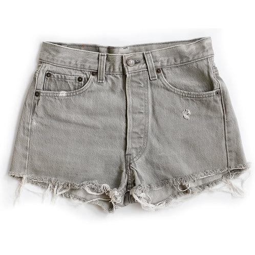 Vintage Levi's 501 Gray Button Fly High Rise Cut Offs Denim Shorts - 25/26