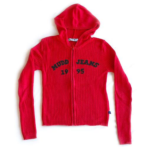Vintage 1995 Mudd Jeans Spellout Red & Blue Full Zip Hooded Cardigan Sweater / Sweatshirt - S