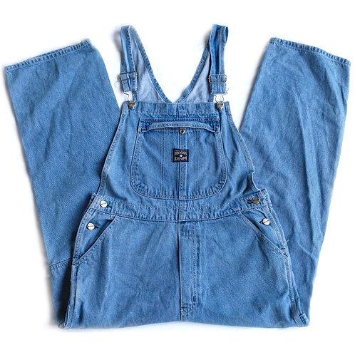 Vintage 90s No Excuses Light/Medium Wash Carpenter Blue Denim Jeans / Overalls / Pants - M