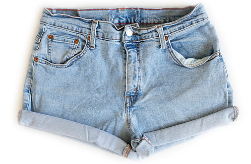 Vintage Levi's Light/Medium Blue Wash High Rise Cuffed Shorts - Sz 30/31