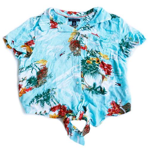 Tommy Hilfiger Tropical Print Blue Short Sleeve Button Up Tie Shirt