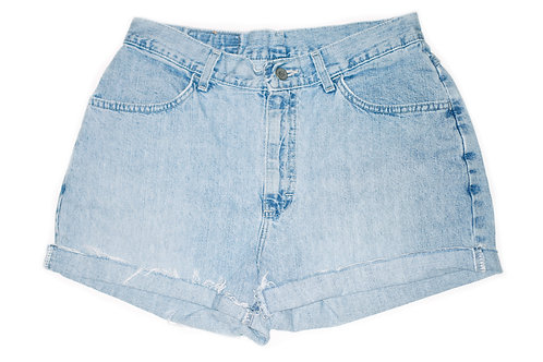 Vintage Lee Light Blue Wash High Rise Cut Off Cuffed Shorts - Sz 29/30
