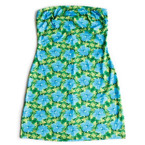 Vintage y2k Hawaiian Flower Silky Stretchy Blue and Green Neon Mini Strapless Tube Dress - S