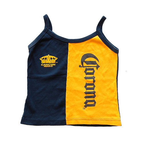 Vintage 90s Corona Cancun, Mexico Blue & Yellow Colorblock Tank Top