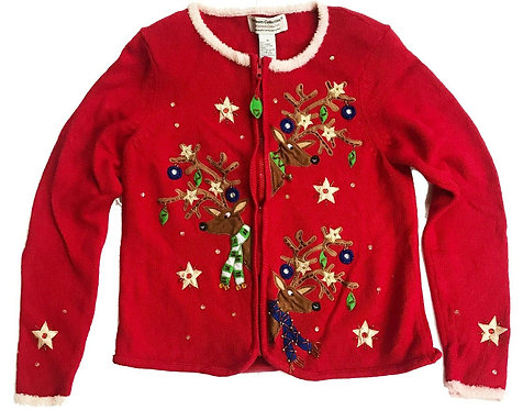Vintage Ugly Christmas Sweater Party Reindeer Embroidered Cardigan - M