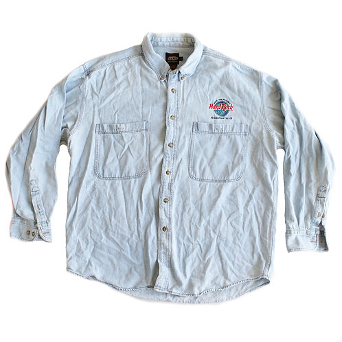 """Vintage 90s Hard Rock Cafe """"Save the Planet"""" Niagra Falls Blue Denim Embroidered Button-Up Shirt"""