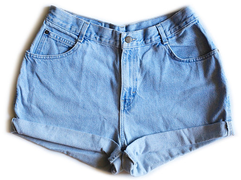Vintage Light Wash High Waisted Cuffed Shorts - 33