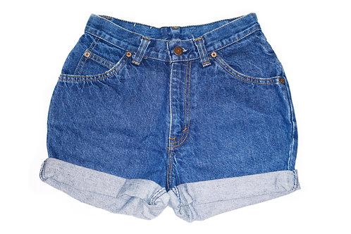 Vintage Levi's Dark Wash High Rise Cuffed Shorts - Sz 24