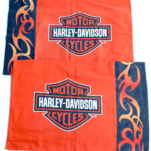 Vintage Harley Davidson Flame Logo Pillow Case Set